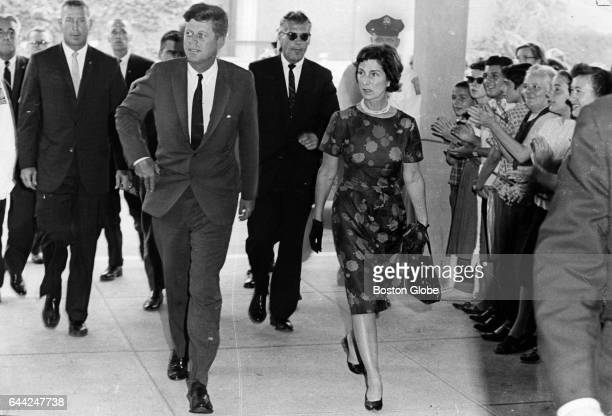 President John F Kennedy and Mrs Hugh D Auchincloss his motherinlaw arrive at Children's Hospital in Boston on Aug 8 1963 His third son Patrick...