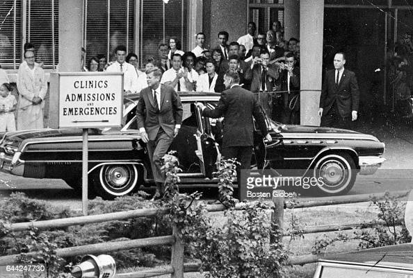 President John F Kennedy arrives at Children's Hospital in Boston on Aug 8 1963 His third son Patrick Bouvier Kennedy was born in Falmouth Mass on...