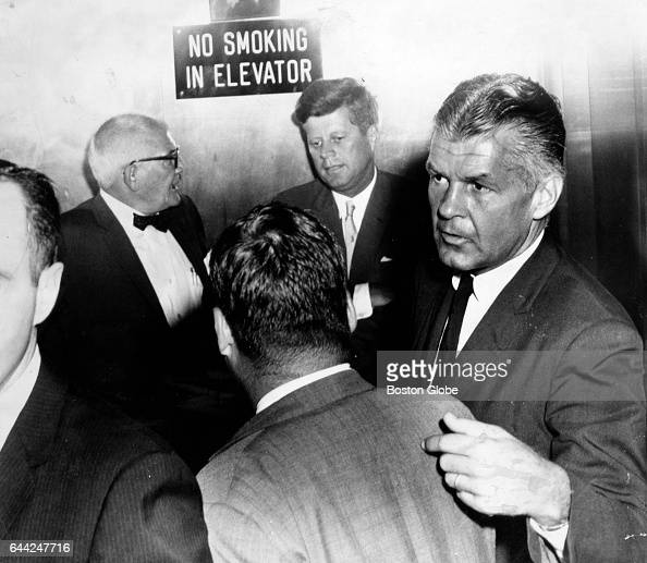 President John F Kennedy center arrives at Children's Hospital in Boston on Aug 7 1963 His third son Patrick Bouvier Kennedy was born in Falmouth...