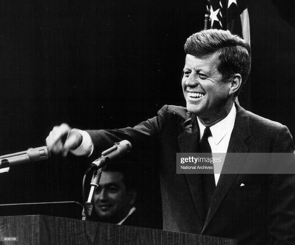 President <a gi-track='captionPersonalityLinkClicked' href=/galleries/search?phrase=John+F.+Kennedy+-+US+President&family=editorial&specificpeople=70027 ng-click='$event.stopPropagation()'>John F. Kennedy</a> laughs during a press conference August 9, 1963.
