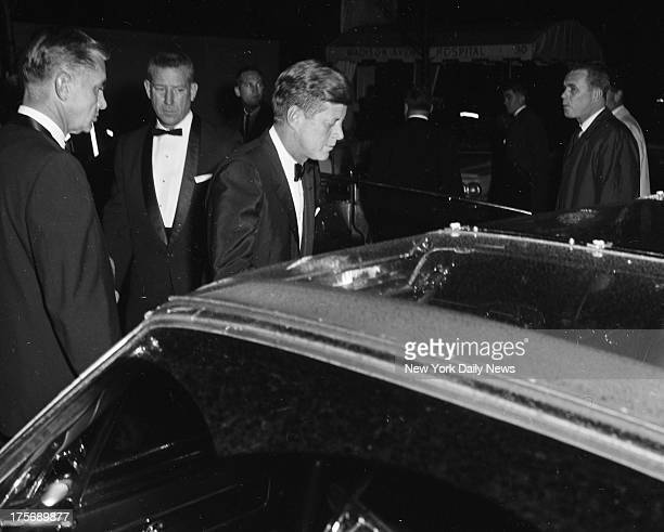 M President John F Kennedy leaves Carlyle Hotel for trip to Hotel Hilton 53d St and Sixth Ave