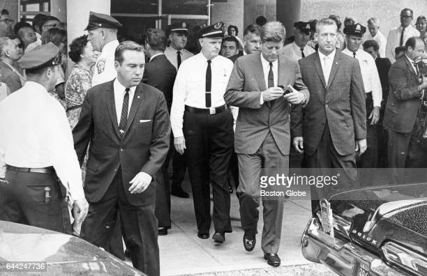 President John F Kennedy leaves Children's Hospital in Boston on Aug 8 1963 His third son Patrick Bouvier Kennedy was born in Falmouth Mass on Aug 7...