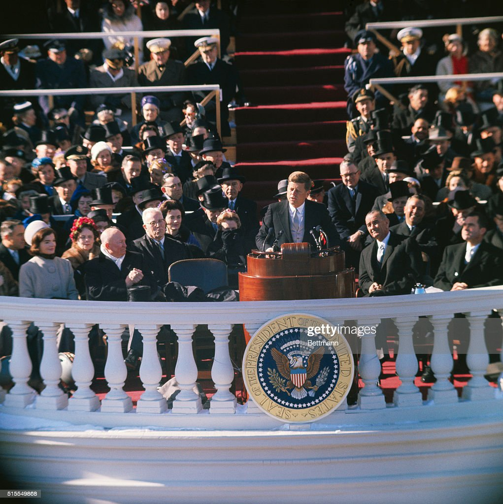 President John F. Kennedy making his inauguration speech from the East Portico of the U.S. Capitol in Washington, DC.