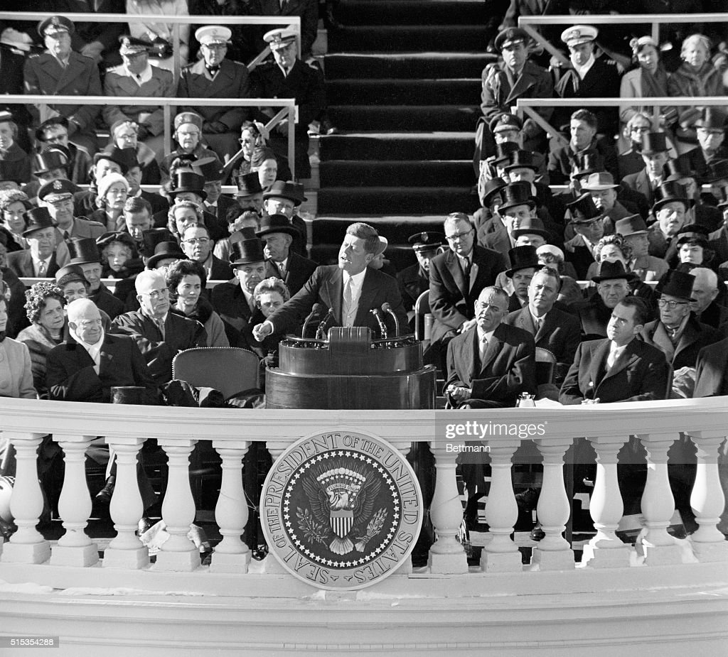 President John F Kennedy making his inauguration speech from the balcony of the White House in Washington DC