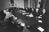 President John F Kennedy meeting at the round table with the leaders and members of his cabinet regarding the bipartisan congressional this week