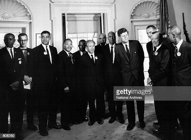 President John F Kennedy meets with civil rights leaders at the White House August 28 1963