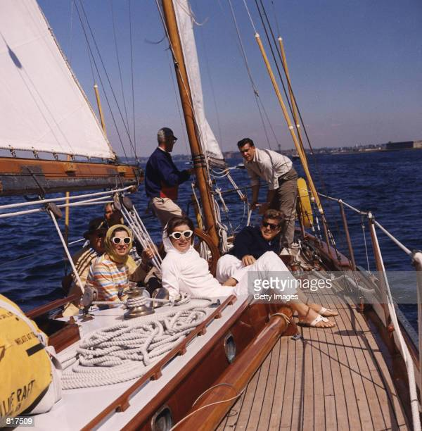 President John F Kennedy second right and First Lady Jaqueline Kennedy attend the first America's Cup race September 9 1962 in Newport RI