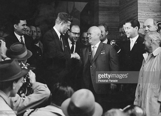 US President John F Kennedy shakes hands with Soviet premier Nikita Khrushchev at the Vienna Summit Austria 4th June 1961 US