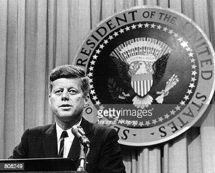 President John F Kennedy speaks at a press conference August 1 1963