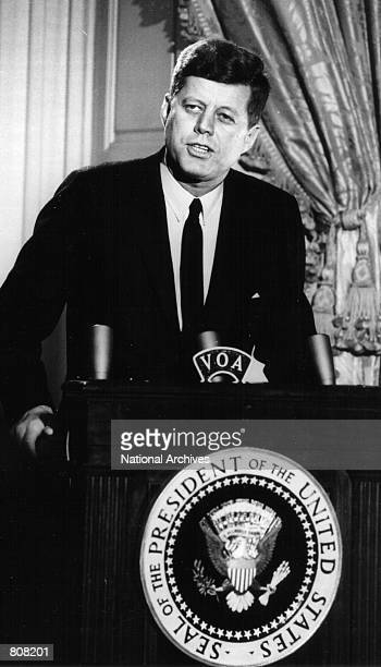 President John F Kennedy speaks at a press conference March 13 1961