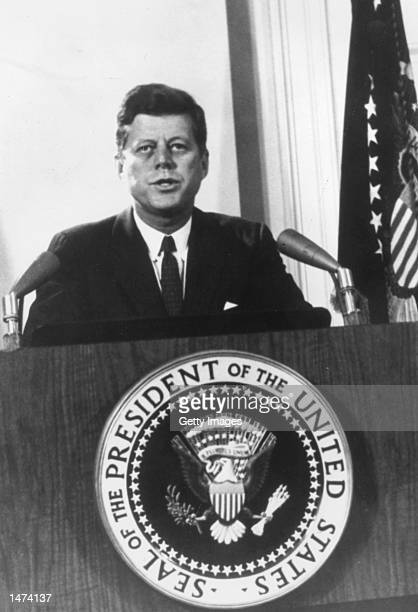 US President John F Kennedy speaks during a televised speech to the nation about the Cuban missile crisis February 11 1962 in Washington DC Former...