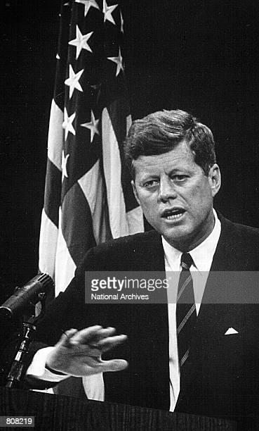 President John F Kennedy speaks to the media August 1 1962 in Washington