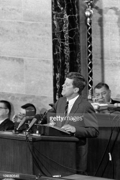 US President John Fitzgerald Kennedy gives a speech in front of the Congress on May 26 1961 in Washington to raise funds in order to send the first...
