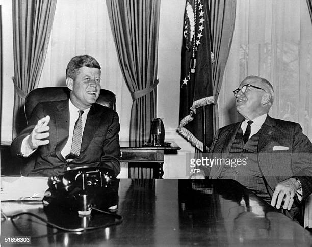 President John Fitzgerald Kennedy meets in January 1961 at the WhiteHouse Washington DC with former US President Harry S Truman N/B B/W