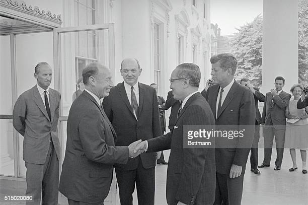 President John Kennedy Secretary of State Dean Rusk and Ambassador Adlai Stevenson greet the UN Secretary General U Thant as he arrives at the White...
