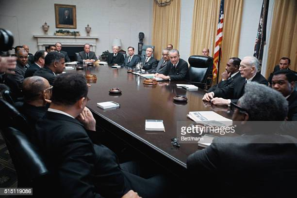 President Johnson called top Negro and Government leaders to the White House for urgent talks on racial tensions erupting from the slaying of Dr...