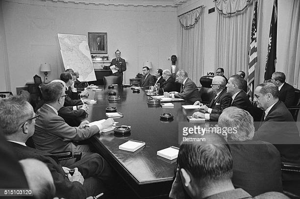 President Johnson conferred for more than two hours today with General Earle G Wheeler Chairman of the Joint Chiefs of Staff and other top advisers...