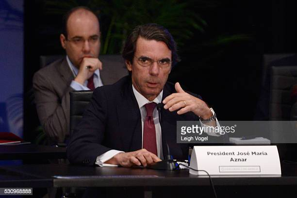 President Jose Maria Aznar speaks on stage during Concordia | The Americas a highlevel Summit on the Americas organized by Concordia taking place at...