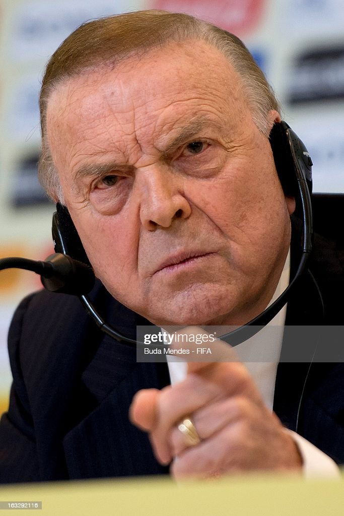 President Jose Maria Marin attends a press conference during FIFA World Cup LOC Board Meeting on March 7, 2013 in Rio de Janeiro, Brazil.