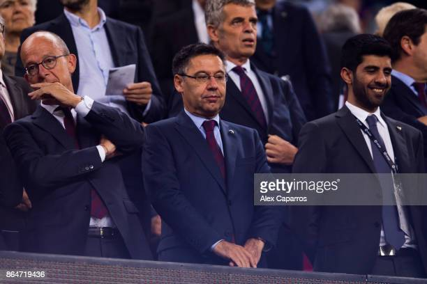 President Josep Maria Bartomeu of FC Barcelona looks on before the La Liga match between Barcelona and Malaga at Camp Nou on October 21 2017 in...