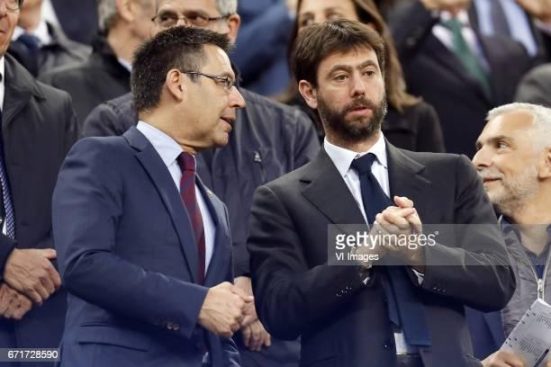 president Josep Maria Bartomeu of FC Barcelona president Andrea Agnelli of Juventus FCduring the UEFA Champions League quarter final match between FC...