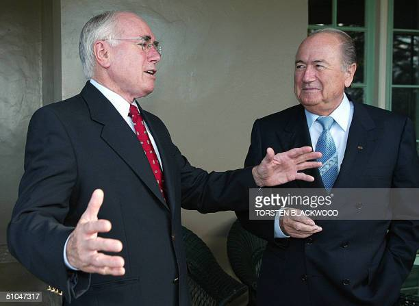 President Joseph Blatter and Australian Prime Minister John Howard chat on the verandah of Kirribilli House in Sydney 11 July 2004 Blatter personally...