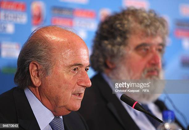 FIFA president Joseph Blatter and Chuck Blazer chiarman of FIFA Club World Cup organising committee attend the press conference held by the FIFA...
