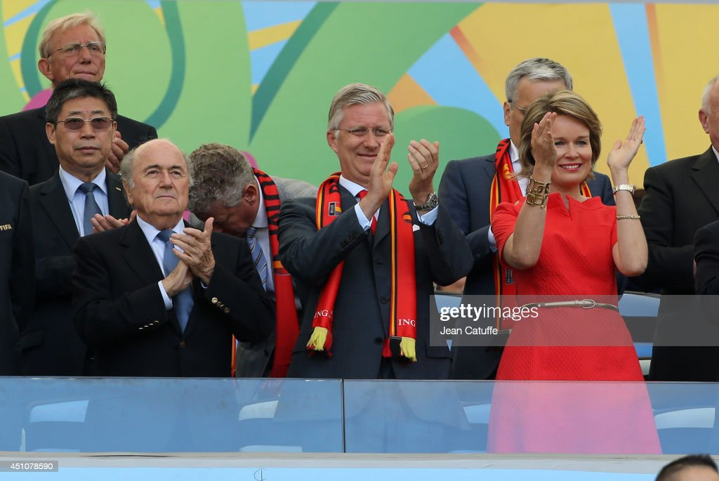 President Joseph Blatter, King <a gi-track='captionPersonalityLinkClicked' href=/galleries/search?phrase=Philippe+of+Belgium&family=editorial&specificpeople=160209 ng-click='$event.stopPropagation()'>Philippe of Belgium</a> and <a gi-track='captionPersonalityLinkClicked' href=/galleries/search?phrase=Queen+Mathilde+of+Belgium&family=editorial&specificpeople=239189 ng-click='$event.stopPropagation()'>Queen Mathilde of Belgium</a> attend the 2014 FIFA World Cup Brazil Group H match between Belgium and Russia at Maracana on June 22, 2014 in Rio de Janeiro, Brazil.