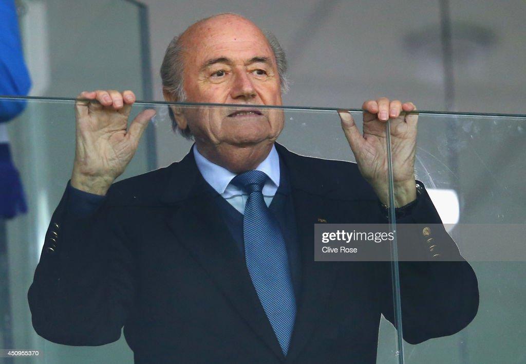 President Joseph Blatter looks on during the 2014 FIFA World Cup Brazil Group E match between Honduras and Ecuador at Arena da Baixada on June 20, 2014 in Curitiba, Brazil.
