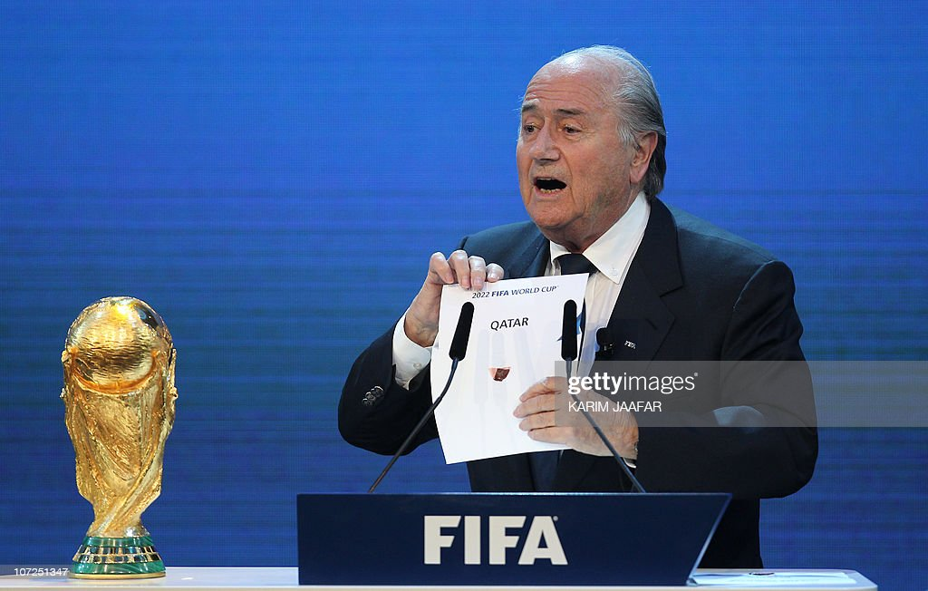 FIFA president Joseph Blatter opens the envelope to reveal that Qatar will host the 2022 World Cup at the FIFA headquarters in Zurich on December 2...