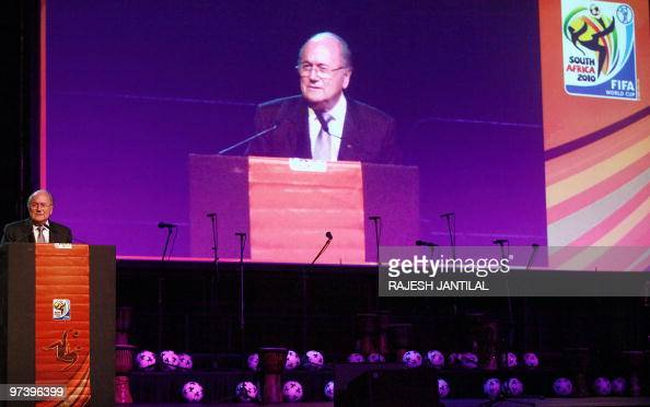 President Joseph Blatter speaks during the 100 Days Gala Dinner for the 2010 FIFA World Cup football tournament function held at Durban's...