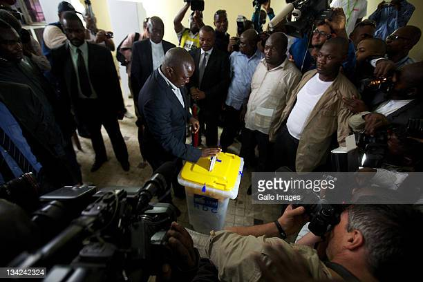 President Joseph Kabila casts his vote at a polling station on November 28 2011 in Kinshasa Democratic Republic of Congo Over 30 million people...
