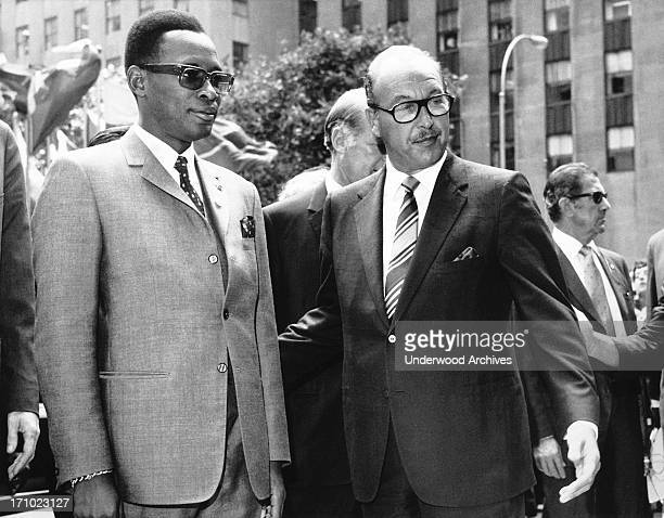 President Joseph Mobutu of the Democratic Republic of the Congo is greeted by RCA chairman and president Robert Sarnoff at the RCA BUilding in...