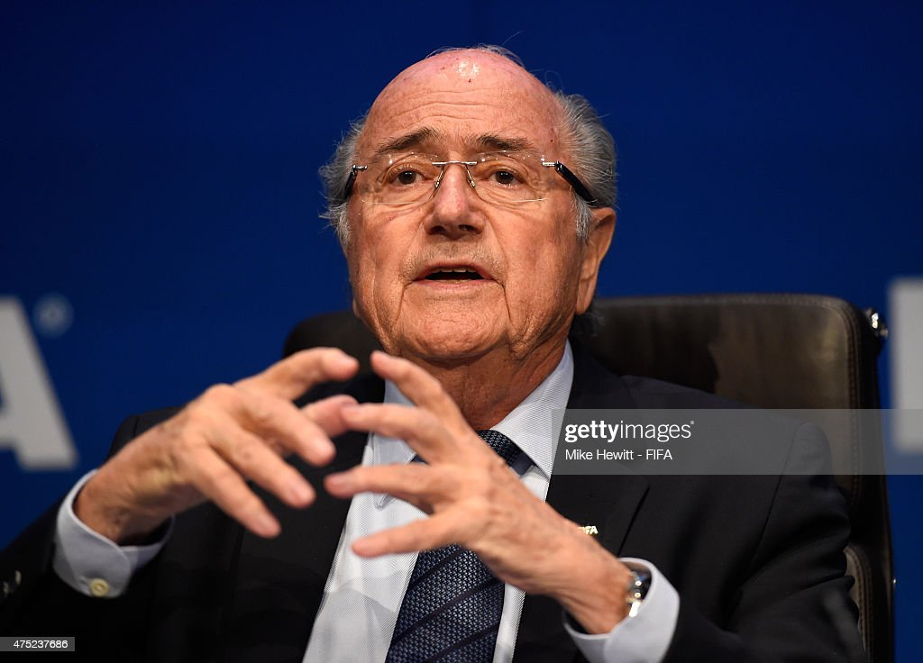 FIFA president Joseph S. Blatter addresses the media during the post 65th FIFA Congress press conference at FIFA Headquarters on May 30, 2015 in Zurich, Switzerland.