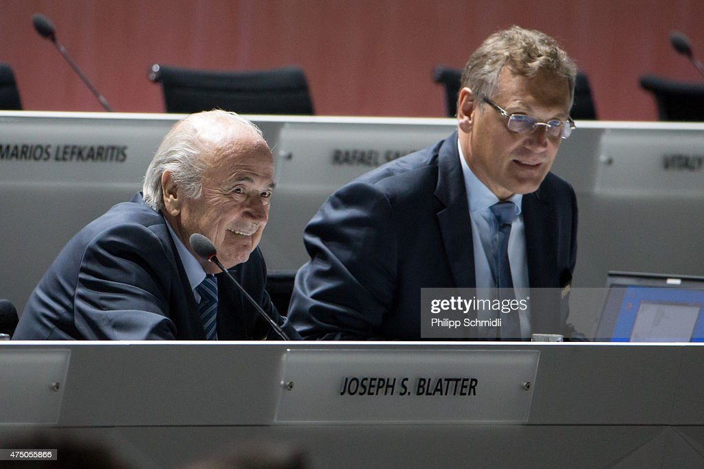 President Joseph S. Blatter (L) and FIFA Secretary General <a gi-track='captionPersonalityLinkClicked' href=/galleries/search?phrase=Jerome+Valcke&family=editorial&specificpeople=4375385 ng-click='$event.stopPropagation()'>Jerome Valcke</a> look on prior to the 65th FIFA Congress at Hallenstadion on May 29, 2015 in Zurich, Switzerland.