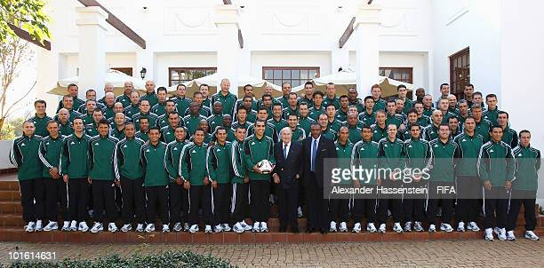 FIFA president Joseph S Blatter and organising chairman Irvin Khoza pose with referees after the welcome and opening reception for the 2010 FIFA...