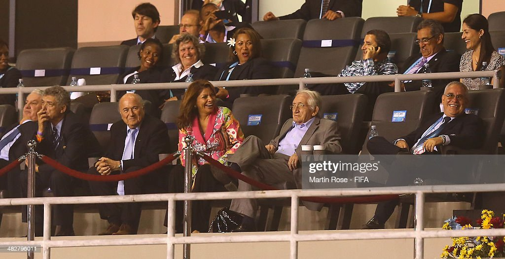President Joseph S. Blatter and President of Costa Rica <a gi-track='captionPersonalityLinkClicked' href=/galleries/search?phrase=Laura+Chinchilla&family=editorial&specificpeople=646370 ng-click='$event.stopPropagation()'>Laura Chinchilla</a> Miranda attend the FIFA U-17 Women's World Cup 2014 final match between Japan and Spain at Estadio Nacional on April 4, 2014 in San Jose, Costa Rica.