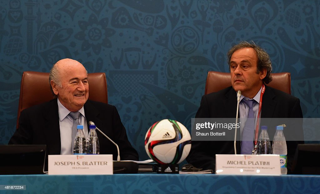 President Joseph S. Blatter and UEFA President <a gi-track='captionPersonalityLinkClicked' href=/galleries/search?phrase=Michel+Platini&family=editorial&specificpeople=206862 ng-click='$event.stopPropagation()'>Michel Platini</a> look on during the Team Seminar ahead of the Preliminary Draw of the 2018 FIFA World Cup at the Corinthia Hotel on July 25, 2015 in Saint Petersburg, Russia.