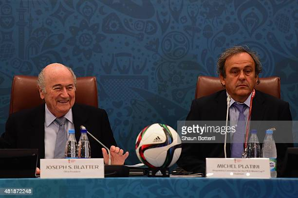 President Joseph S Blatter and UEFA President Michel Platini look on during the Team Seminar ahead of the Preliminary Draw of the 2018 FIFA World Cup...