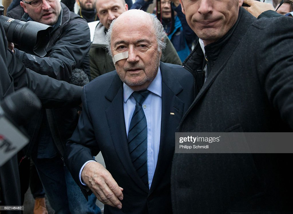 FIFA president Joseph S. Blatter arrives for a press conference as reaction to his banishment for eight years by the FIFA ethics committee at FIFA's former headquarters at Sonnenberg in Zurich on December 21, 2015 in Zurich, Switzerland.