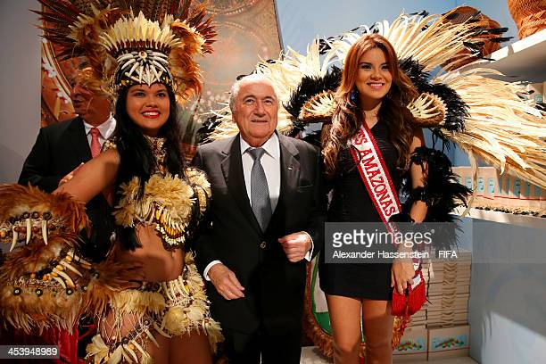 President Joseph S Blatter arrives for the Final Draw for the 2014 FIFA World Cup Brazil at Costa do Sauipe Resort on December 6 2013 in Costa do...