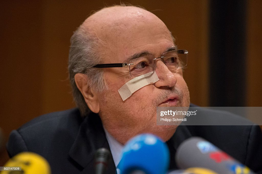FIFA president Joseph S. Blatter attends a press conference as reaction to his banishment for eight years by the FIFA ethics committee at FIFA's former headquarters at Sonnenberg hotel on December 21, 2015 in Zurich, Switzerland.