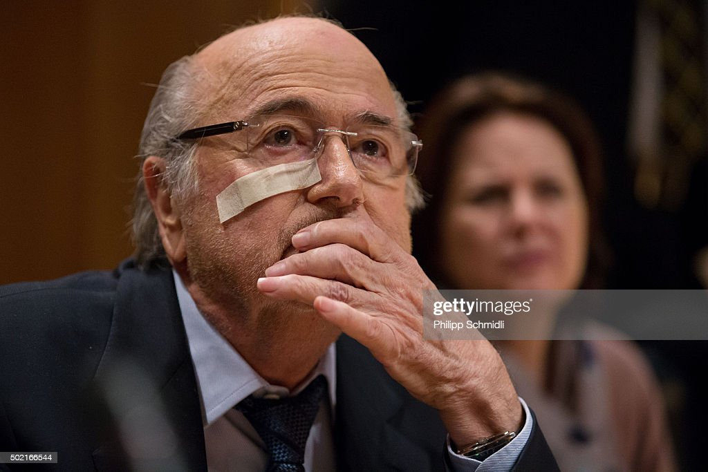 FIFA president Joseph S. Blatter attends a press conference as reaction to his banishment for eight years by the FIFA ethics committee at FIFA's former headquarters at Sonnenberg on December 21, 2015 in Zurich, Switzerland.