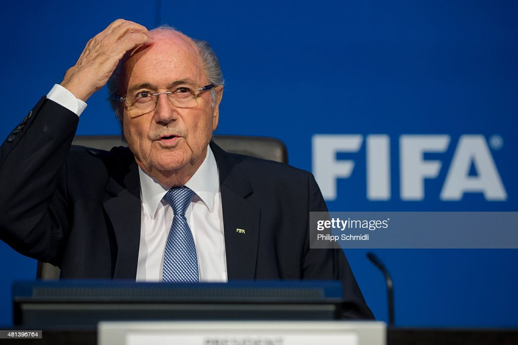 President Joseph S. Blatter attends a press conference at the Extraordinary FIFA Executive Committee Meeting at the FIFA headquarters on July 20, 2015 in Zurich, Switzerland.