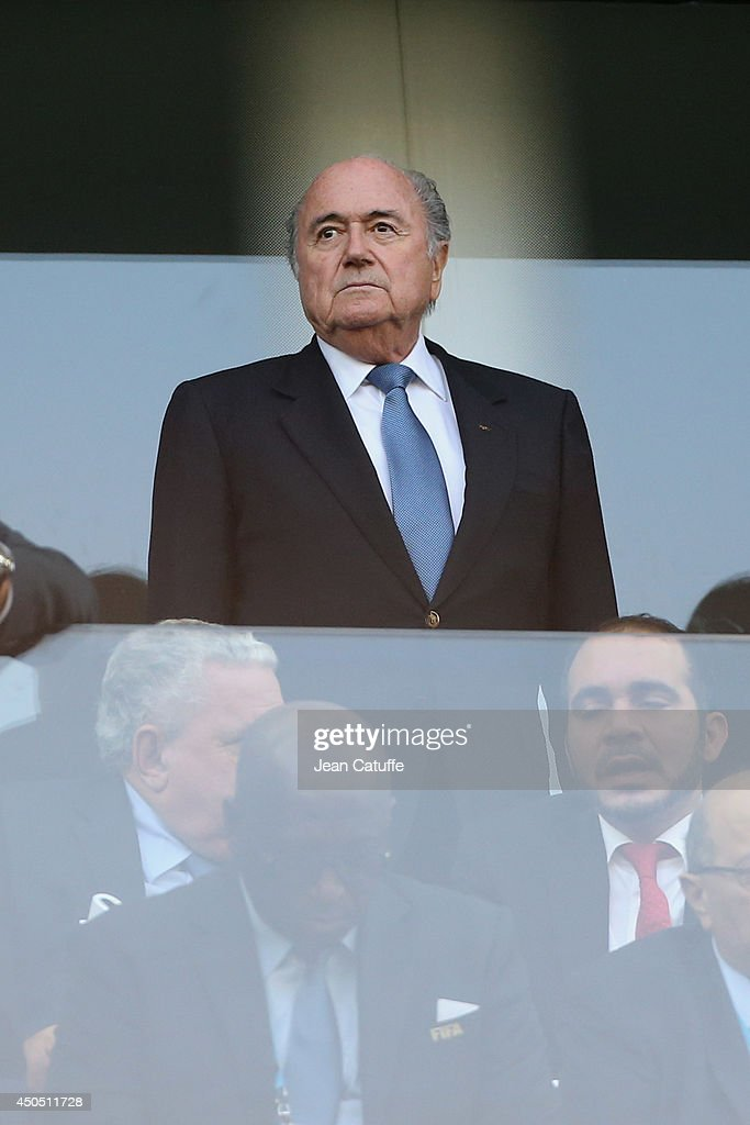 President Joseph S. Blatter attends the 2014 FIFA World Cup Brazil Group A match between Brazil and Croatia at Arena de Sao Paulo on June 12, 2014 in Sao Paulo, Brazil.