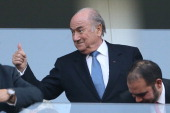 President Joseph S Blatter attends the 2014 FIFA World Cup Brazil Group A match between Brazil and Croatia at Arena de Sao Paulo on June 12 2014 in...