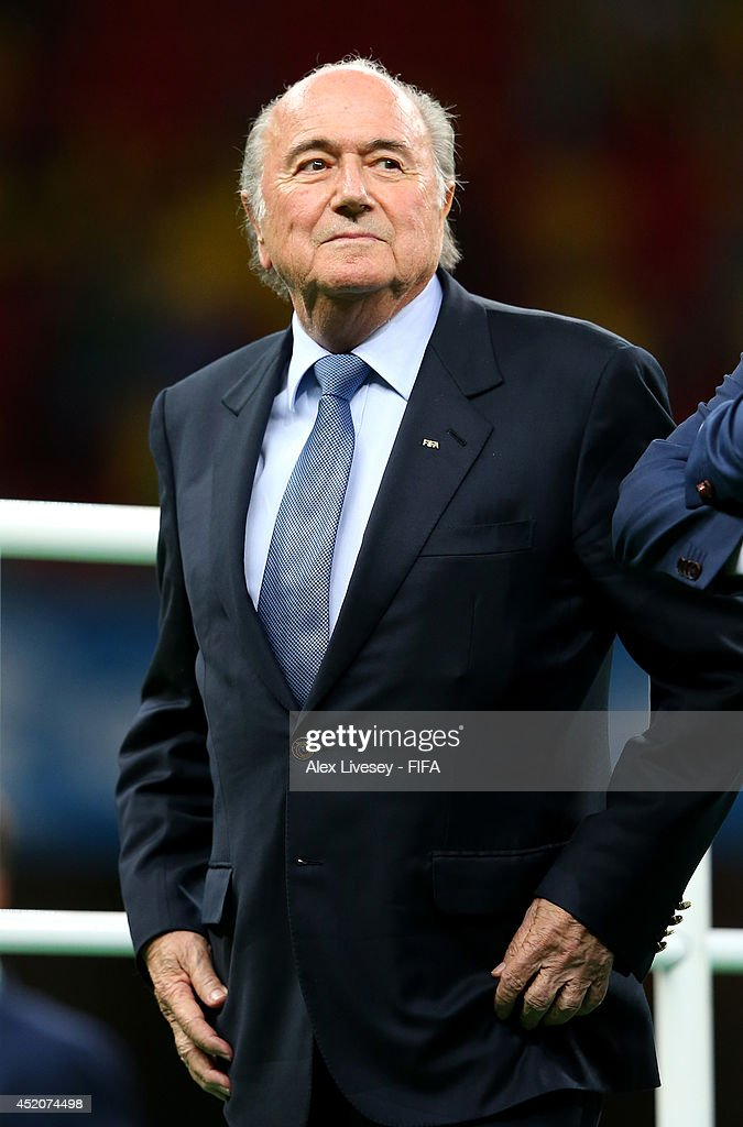 President Joseph S. Blatter attends the medal ceremony after the 2014 FIFA World Cup Brazil 3rd Place Playoff match between Brazil and Netherlands at Estadio Nacional on July 12, 2014 in Brasilia, Brazil.