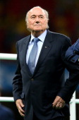 President Joseph S Blatter attends the medal ceremony after the 2014 FIFA World Cup Brazil 3rd Place Playoff match between Brazil and Netherlands at...