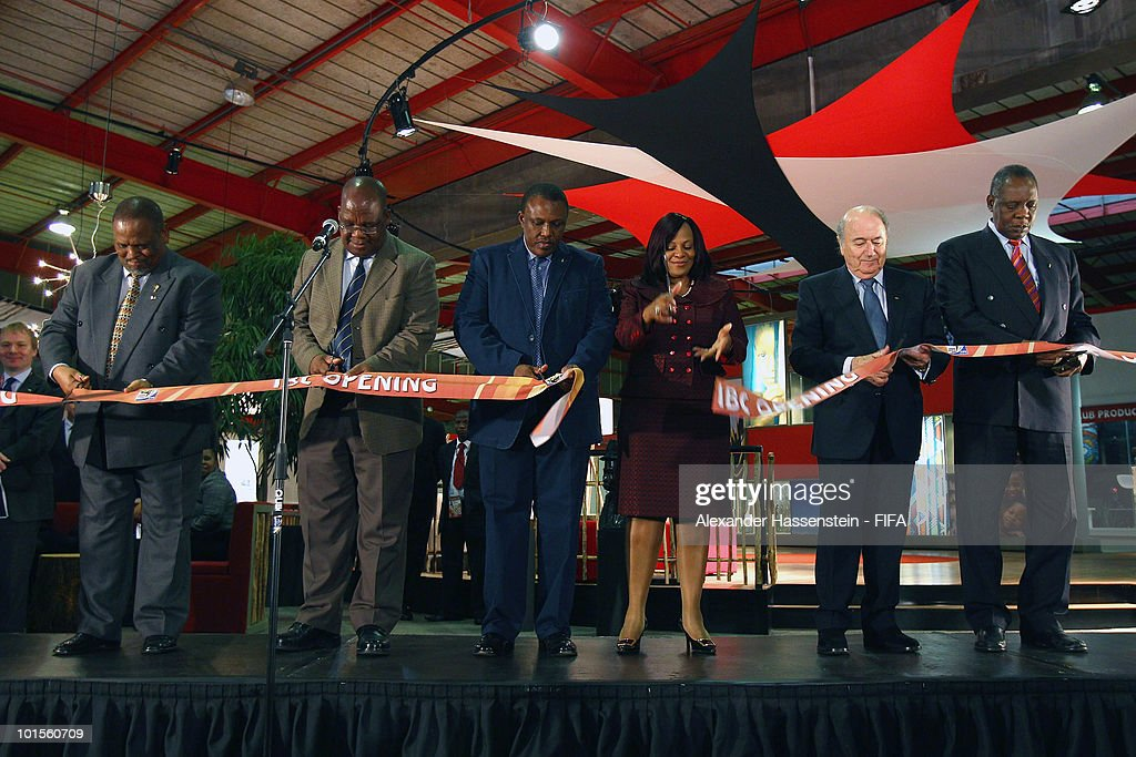 FIFA president Joseph S Blatter cuts the ribbon with Nomvula Mokonyane Premier of Gauteng Issa Hayatou CAF President and Chairman of the FIFA World...