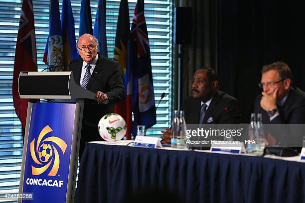 President Joseph S Blatter gives a speech at the CONCACAF confederation meeting at Renaissance Hotel on May 26 2015 in Zurich Switzerland